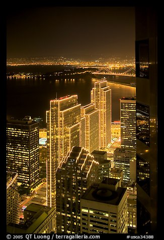 Embarcadero Centre seen from above at night. San Francisco, California, USA