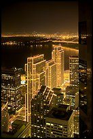 Embarcadero Centre seen from above at night. San Francisco, California, USA (color)