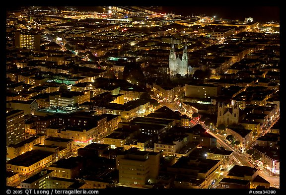 Above view of North Beach at night. San Francisco, California, USA