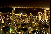Transamerica Pyramid and Embarcadero Center from above at night. San Francisco, California, USA