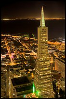 Transamerica Pyramid at night from the Carnelian Room. San Francisco, California, USA