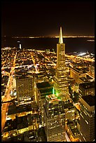 Transamerica Pyramid and Coit Tower, aerial view at night. San Francisco, California, USA (color)