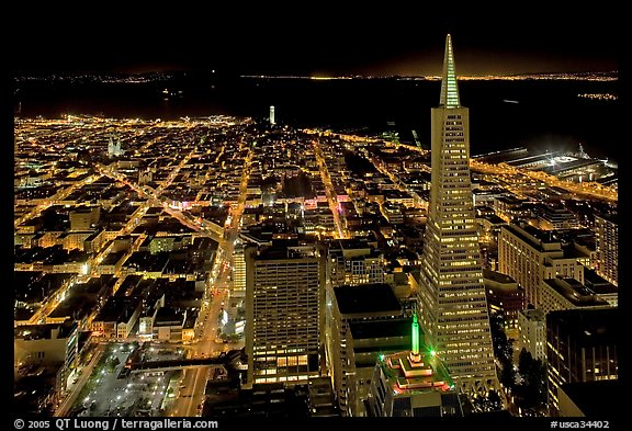 City lights with Transamerica Pyramid. San Francisco, California, USA