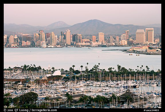 Skyline and San Diego Yacht Club,` from Point Loma, sunset. San Diego, California, USA