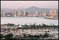Skyline and San Diego Yacht Club,` from Point Loma, sunset. San Diego, California, USA (color)