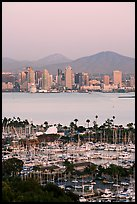 Skyline, Lyon Peak, and San Miguel Mountain, sunset. San Diego, California, USA