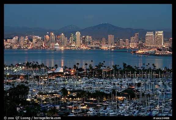 Marina and skyline at night. San Diego, California, USA (color)