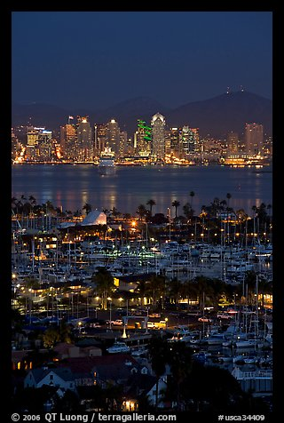 San Diego Yacht Club and skyline at night. San Diego, California, USA (color)