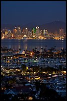 San Diego Yacht Club and skyline at night. San Diego, California, USA