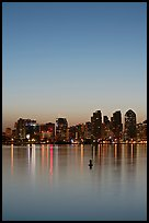 Skyline and reflections at dawn. San Diego, California, USA (color)
