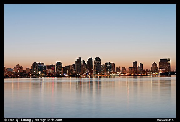 Skyline reflected in the waters of harbor, dawn. San Diego, California, USA