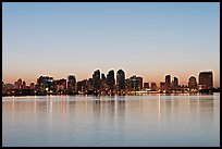 Skyline reflected in the waters of harbor, dawn. San Diego, California, USA ( color)