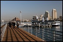 Pier, ferry, and skyline, Coronado. San Diego, California, USA