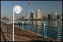 Sign, Ferry pier and skyline, Coronado. San Diego, California, USA (color)