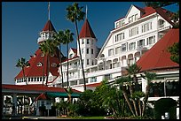 Facade of Hotel Del Coronado in victorian style. San Diego, California, USA (color)