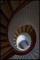 Spiral staircase inside Point Loma Lighthous. San Diego, California, USA (color)