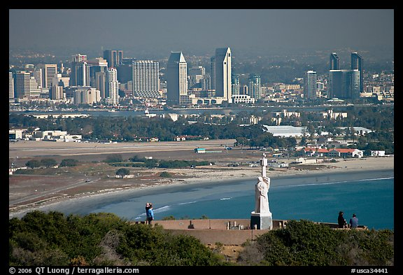 Cabrillo monument, navy base, and skyline. San Diego, California, USA