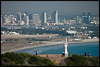 Cabrillo monument, navy base, and skyline. San Diego, California, USA (color)