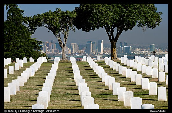 Rows of white gravestones and San Diego skyline, Point Loma. San Diego, California, USA (color)