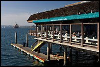 Restaurant at the edge of harbor. San Diego, California, USA ( color)