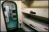 Berthing spaces, USS Midway. San Diego, California, USA (color)