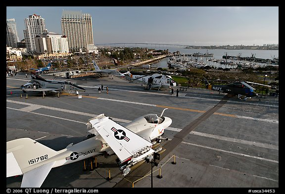 Flight deck and navy aircraft, USS Midway aircraft carrier. San Diego, California, USA (color)