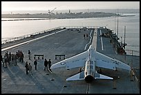 Plane in position at catapult, USS Midway aircraft carrier. San Diego, California, USA (color)