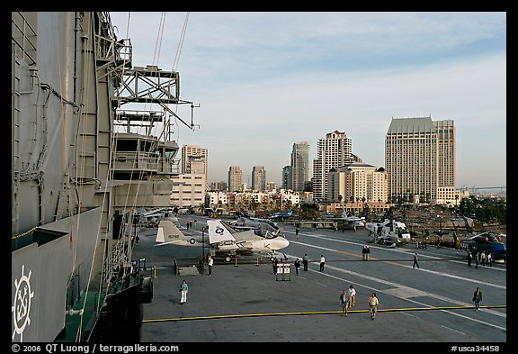 Flight control tower, flight deck, skyline, San Diego Aircraft  carrier museum. San Diego, California, USA