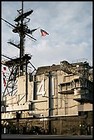 Island superstructure, USS Midway aircraft carrier. San Diego, California, USA (color)