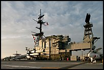 Flight deck and island, USS Midway aircraft carrier, late afternoon. San Diego, California, USA ( color)