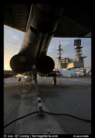 Aircraft with landing hook deployed, San Diego Aircraft  carrier museum. San Diego, California, USA (color)