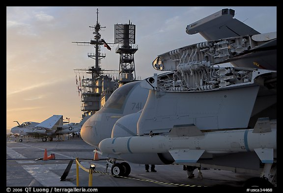 Aircaft with wings folded to save space, USS Midway aircraft carrier. San Diego, California, USA (color)