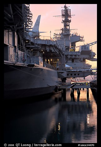 USS Midway aircraft carrier, sunset. San Diego, California, USA (color)