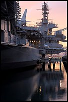 USS Midway aircraft carrier, sunset. San Diego, California, USA ( color)