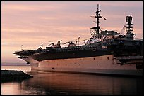 USS Midway at sunset. San Diego, California, USA (color)