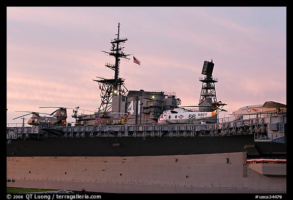 Aircraft and Island on the USS Midway, sunset. San Diego, California, USA (color)