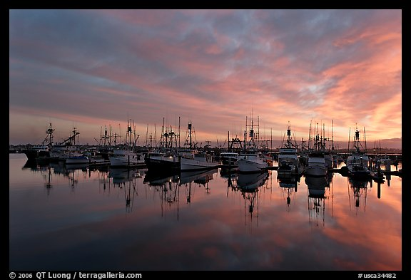 Fishing boats at sunset. San Diego, California, USA