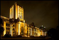 County Administration Center in Art Deco style at night. San Diego, California, USA