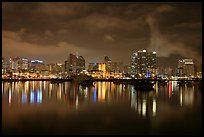 San Diego skyline from Harbor Drive, nite. San Diego, California, USA (color)