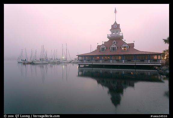 Boathouse and harbor in fog, sunrise, Coronado. San Diego, California, USA (color)
