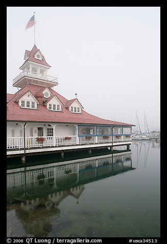 Historic Coronado Boathouse. San Diego, California, USA (color)