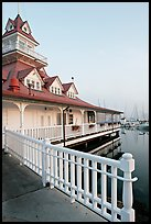 Fence and boathouse, Coronado. San Diego, California, USA (color)
