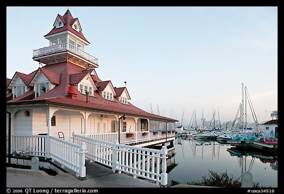 Boathouse and yachts, Coronado. San Diego, California, USA (color)