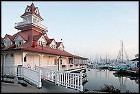 Boathouse and yachts, Coronado. San Diego, California, USA ( color)