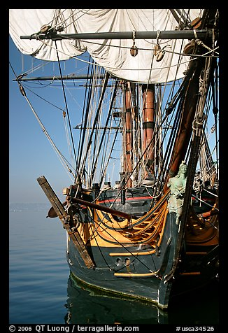 HMS Surprise, a replica of a 18th century Royal Navy frigate, Maritime Museum. San Diego, California, USA (color)
