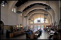 Vaulted ceiling,  waiting room of Santa Fe Depot. San Diego, California, USA (color)