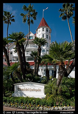 Sign, palm trees, and hotel Del Coronado. San Diego, California, USA (color)