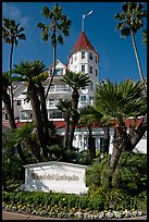Sign, palm trees, and hotel Del Coronado. San Diego, California, USA ( color)