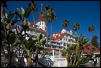 Del Coronado hotel framed by palm trees. San Diego, California, USA ( color)