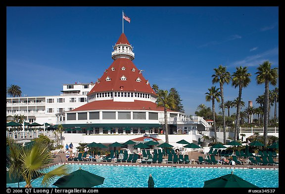 Swimming pool of hotel Del Coronado. San Diego, California, USA
